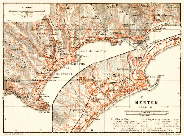 Menton town plan with map of the environs of Menton, 1913. Use the zooming tool to explore in higher level of detail. Obtain as a quality print or high resolution image