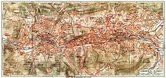 Barmen and Elberfeld (now Wuppertal) city map, 1908
