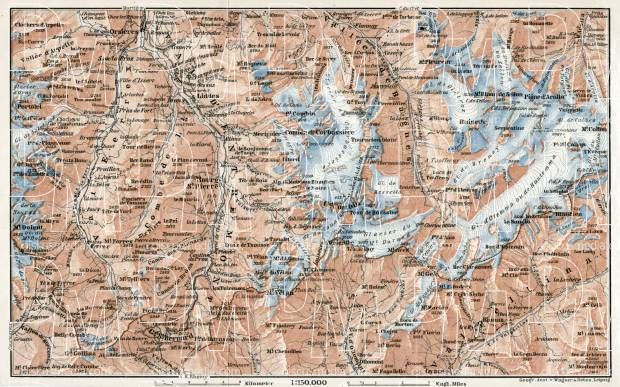 Great St. Bernard and environs map, 1909. Use the zooming tool to explore in higher level of detail. Obtain as a quality print or high resolution image