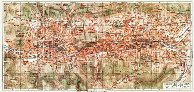Barmen and Elberfeld (now Wuppertal) city map, 1908. Use the zooming tool to explore in higher level of detail. Obtain as a quality print or high resolution image
