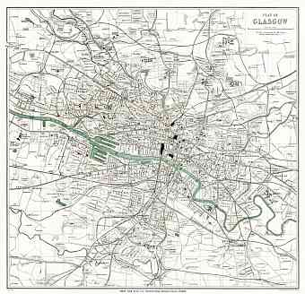 Glasgow city map, 1908