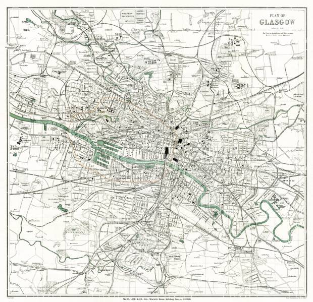 Glasgow city map, 1908. Use the zooming tool to explore in higher level of detail. Obtain as a quality print or high resolution image