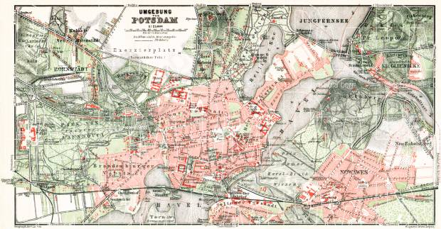 Potsdam city map, 1910. Use the zooming tool to explore in higher level of detail. Obtain as a quality print or high resolution image