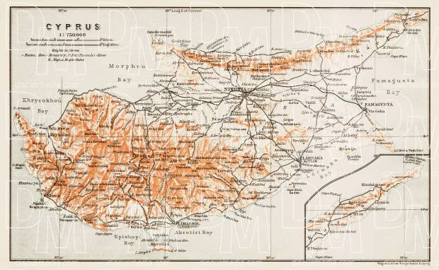 Cyprus (Κύπρος, Kıbrıs) general map, 1914. Use the zooming tool to explore in higher level of detail. Obtain as a quality print or high resolution image