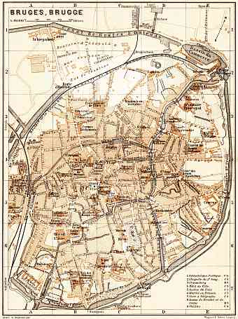 Historical map prints of Bruges Brugge in Belgium for sale and