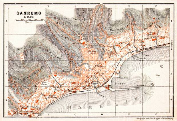 Sanremo city map, 1908. Use the zooming tool to explore in higher level of detail. Obtain as a quality print or high resolution image