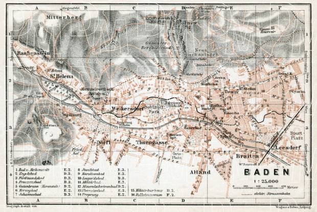 Baden to Vienna (Baden bei Wien), town plan, 1910. Use the zooming tool to explore in higher level of detail. Obtain as a quality print or high resolution image