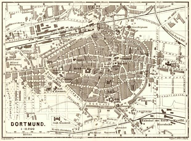 Old map of Dortmund in 1887 Buy vintage map replica poster print – Map Dortmund Germany
