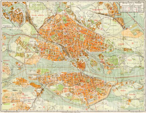 Old map of Stockholm in 1922 Buy vintage map replica poster print