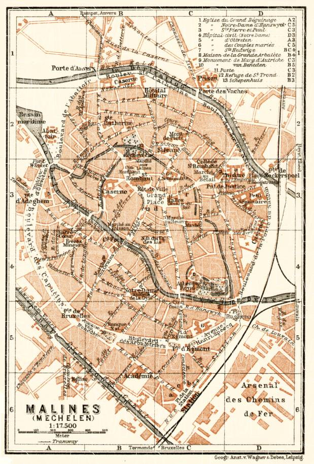 Malines (Mechelen) city map, 1909. Use the zooming tool to explore in higher level of detail. Obtain as a quality print or high resolution image