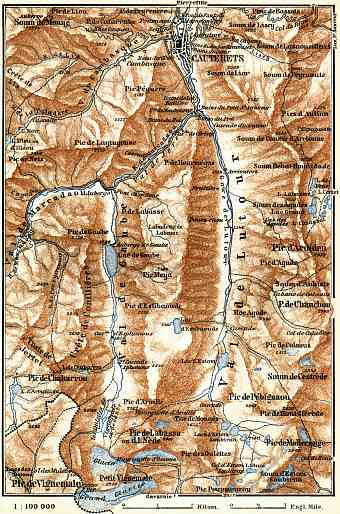 Cauterets environs map, 1885