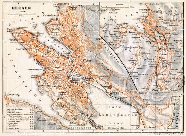 Old Map Of Bergen And Vicinity In Buy Vintage Map Replica - Bergen map