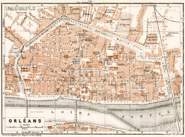 Orléans city map, 1909. Use the zooming tool to explore in higher level of detail. Obtain as a quality print or high resolution image
