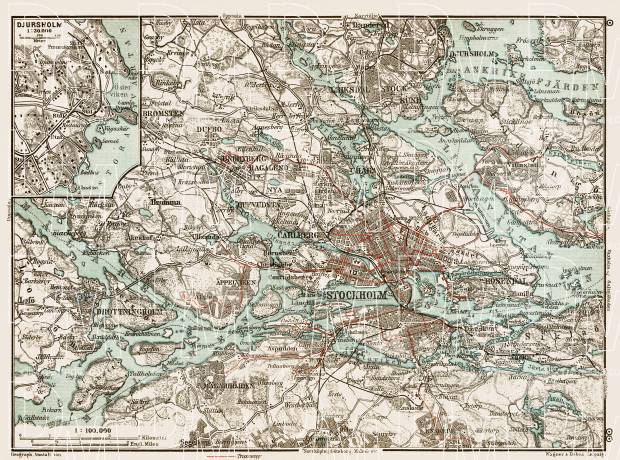 Stockholm nearer environs map, 1929. Use the zooming tool to explore in higher level of detail. Obtain as a quality print or high resolution image