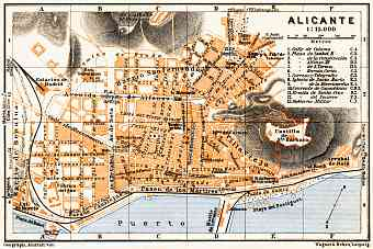 Alicante city map, 1929
