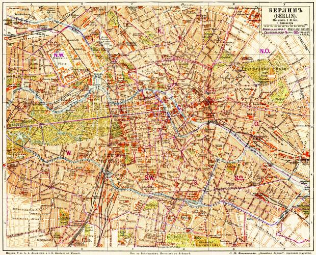 Berlin city map, 1903 (legend in Russian). Use the zooming tool to explore in higher level of detail. Obtain as a quality print or high resolution image