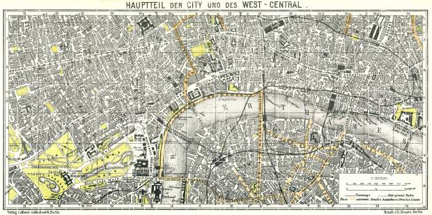 Old map of London Center in 1911 Buy vintage map replica poster