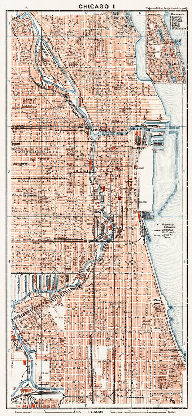 Chicago I city map, 1909. Use the zooming tool to explore in higher level of detail. Obtain as a quality print or high resolution image
