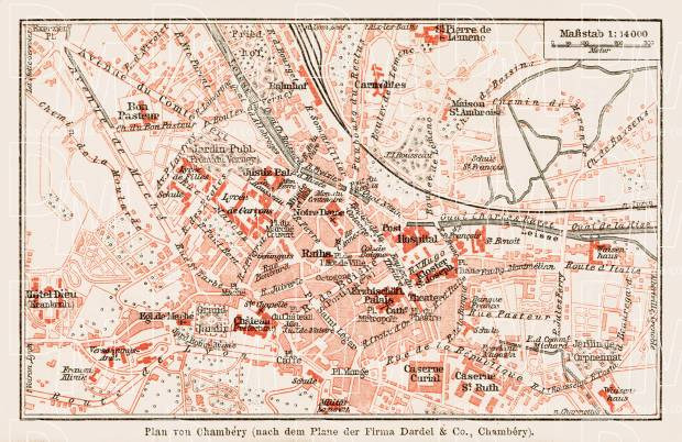 Chambéry city map, 1913. Use the zooming tool to explore in higher level of detail. Obtain as a quality print or high resolution image