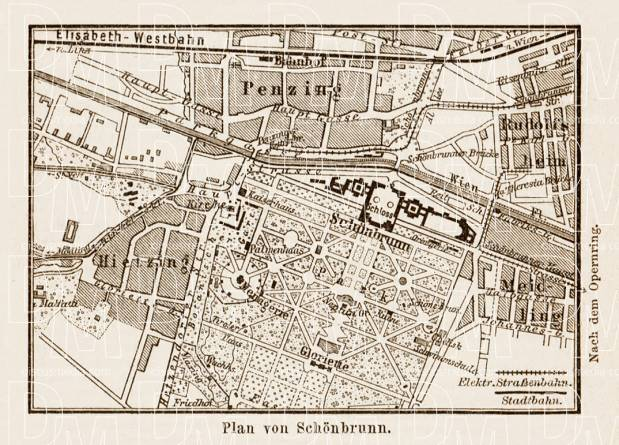 Map of the Schönbrunn palace environs in Vienna (Wien), 1903. Use the zooming tool to explore in higher level of detail. Obtain as a quality print or high resolution image