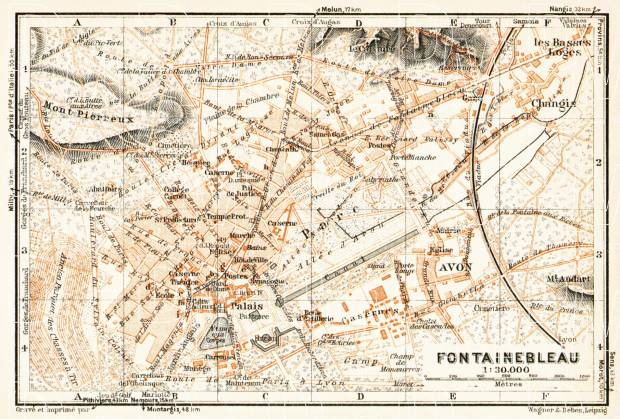 Fontainebleau city map, 1931. Use the zooming tool to explore in higher level of detail. Obtain as a quality print or high resolution image