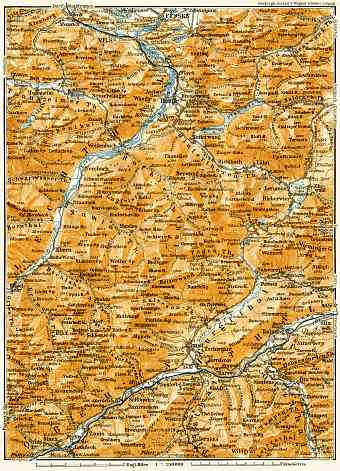 Bavarian, Lechtal and Innental Alps from Füssen to Landeck and Umhausen map, 1906
