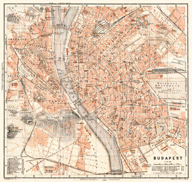 Budapest city map, 1913. Use the zooming tool to explore in higher level of detail. Obtain as a quality print or high resolution image