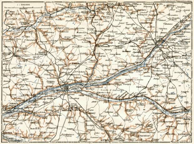 Tours and Blois environs map, 1909. Use the zooming tool to explore in higher level of detail. Obtain as a quality print or high resolution image