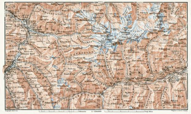 Silvretta mountain group map, 1909. Use the zooming tool to explore in higher level of detail. Obtain as a quality print or high resolution image