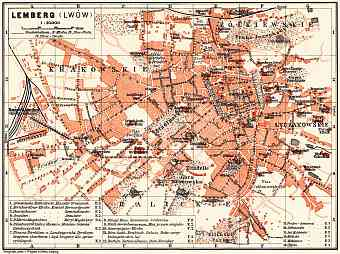 Lemberg (Львiв, L´viv) city map, 1911