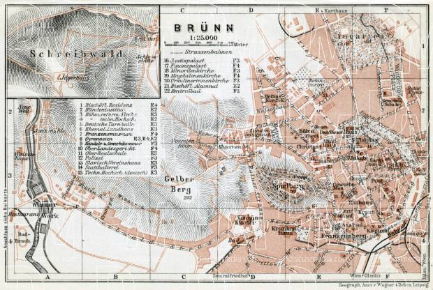 Brünn (Brno), city map with environs map (Schreibwald - Blansko), 1910. Use the zooming tool to explore in higher level of detail. Obtain as a quality print or high resolution image