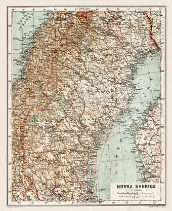Map of the northern part of Sweden, 1929