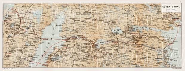 Götha (Göta) Canal map, 1899. Use the zooming tool to explore in higher level of detail. Obtain as a quality print or high resolution image