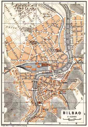 Bilbao city map, 1899