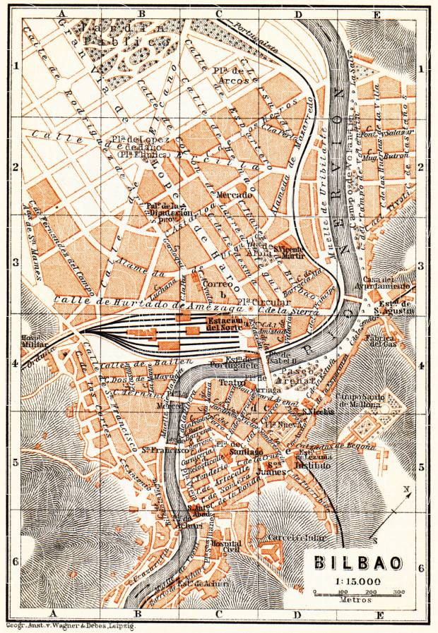 Old map of Bilbao in 1899 Buy vintage map replica poster print or