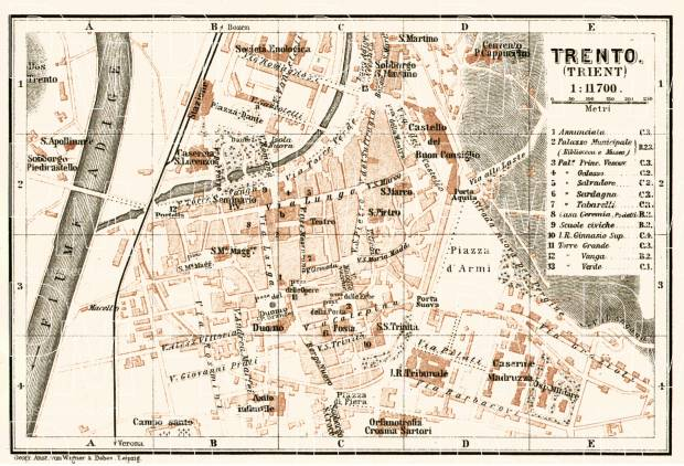 Trient (Trento) city map, 1906. Use the zooming tool to explore in higher level of detail. Obtain as a quality print or high resolution image