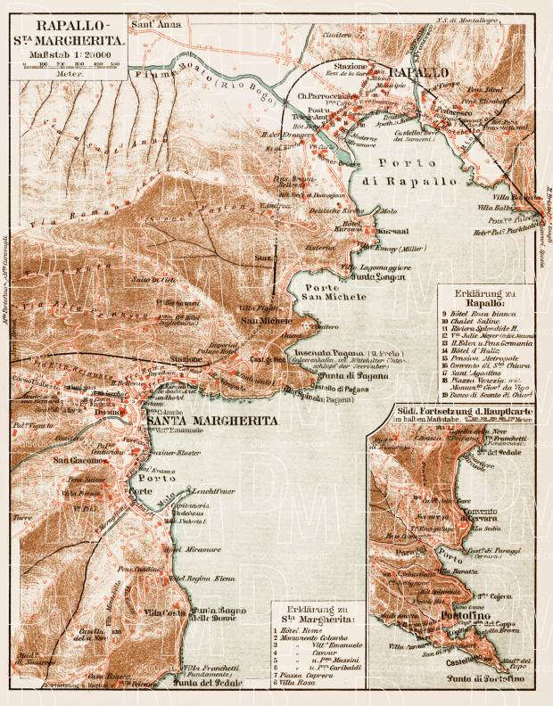 Old Map Of The Vicinities Of Rapallo And Santa Margherita In 1913
