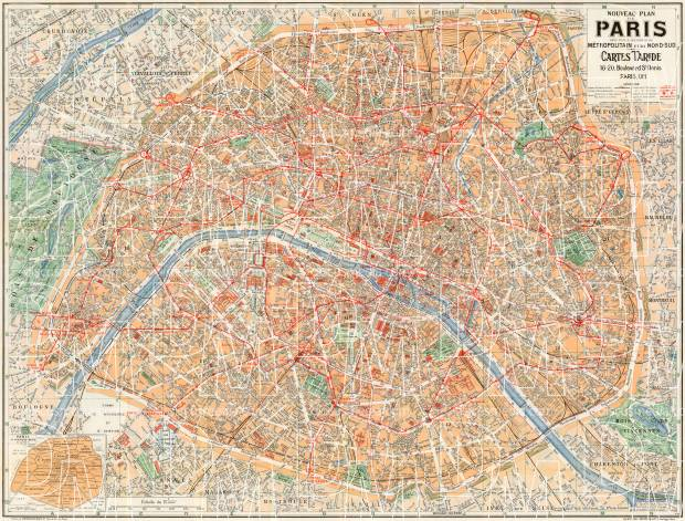 Old Map Of Paris In 1928 Buy Vintage Map Replica Poster Print Or