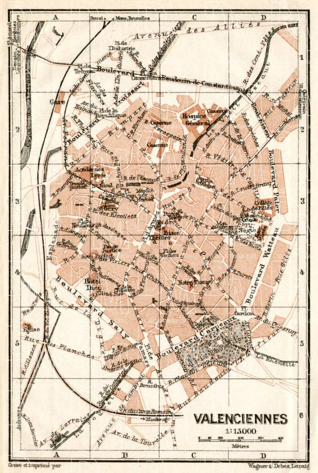 Valenciennes city map, 1909. Use the zooming tool to explore in higher level of detail. Obtain as a quality print or high resolution image