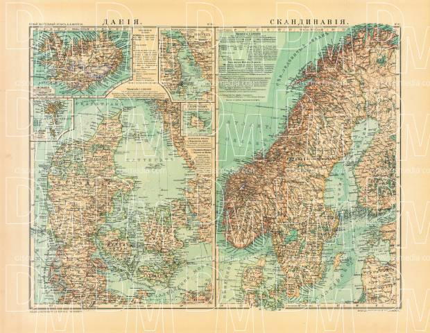 Denmark and Scandinavia Map (in Russian), 1910. Use the zooming tool to explore in higher level of detail. Obtain as a quality print or high resolution image