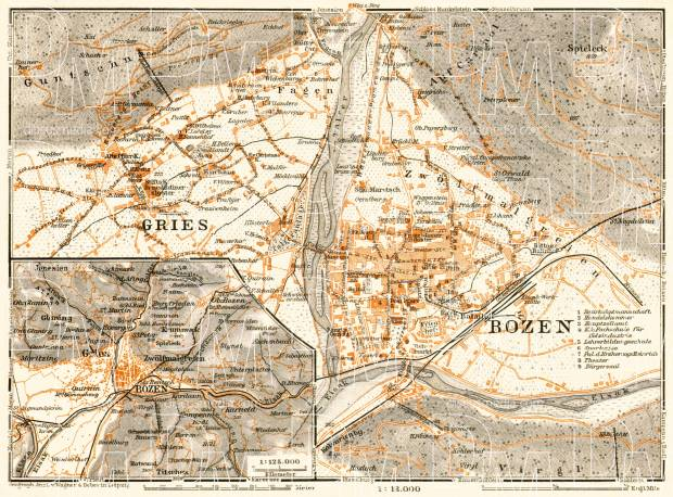 Bolzano (Bozen) and Gries, city map. Environs of Bolzano/Gries map, 1913. Use the zooming tool to explore in higher level of detail. Obtain as a quality print or high resolution image
