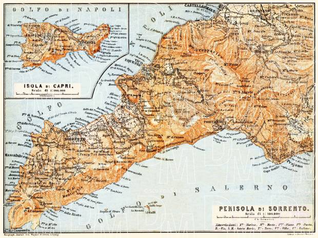 Sorrento Peninsula and Isle of Capri map, 1898. Use the zooming tool to explore in higher level of detail. Obtain as a quality print or high resolution image