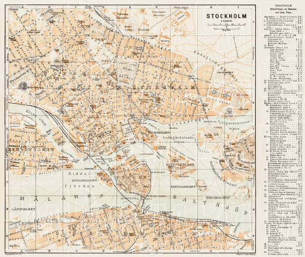 Stockholm city map, 1929. Use the zooming tool to explore in higher level of detail. Obtain as a quality print or high resolution image