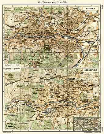 Barmen and Elberfeld (now Wuppertal) city map, 1902