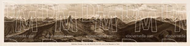 The southern panorama of the Hohen Salve mount in Brixental in Tyrol, 1903. Use the zooming tool to explore in higher level of detail. Obtain as a quality print or high resolution image