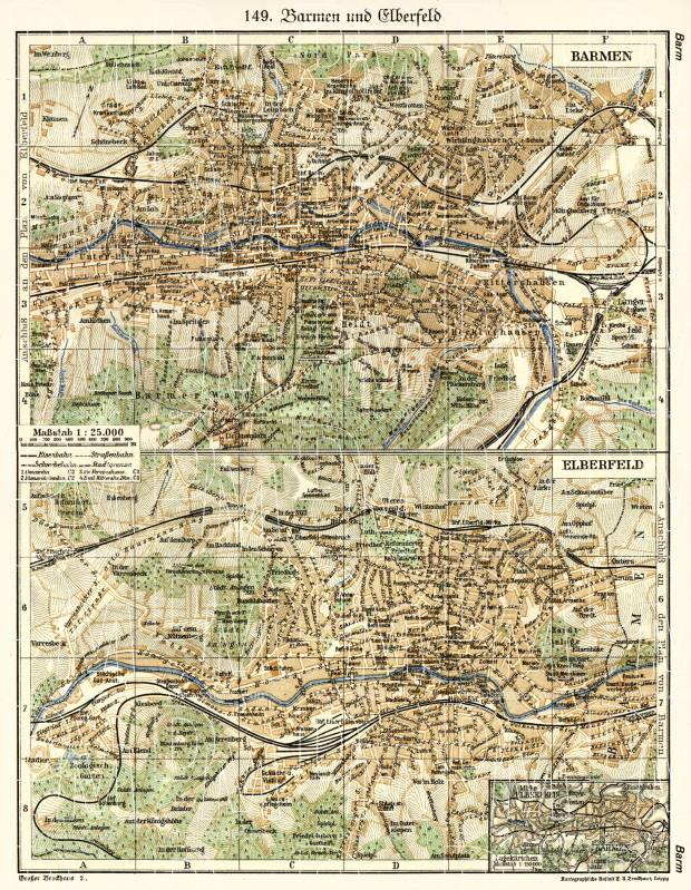 Old map of Barmen and Elberfeld in 1902 Buy vintage map replica