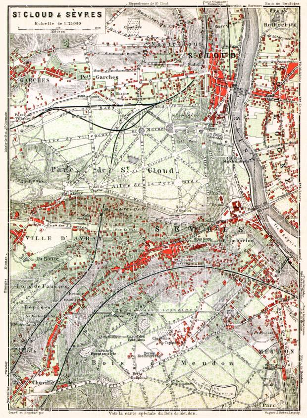 Saint-Cloud and Sèvres map, 1910. Use the zooming tool to explore in higher level of detail. Obtain as a quality print or high resolution image
