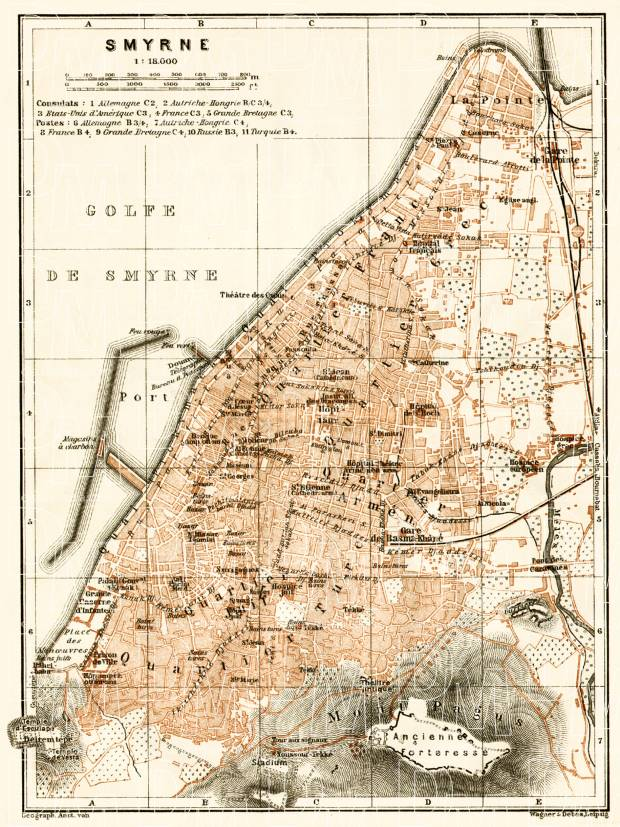 Smyrna (إزمير, İzmir, Smyrne) city map, 1905. Use the zooming tool to explore in higher level of detail. Obtain as a quality print or high resolution image