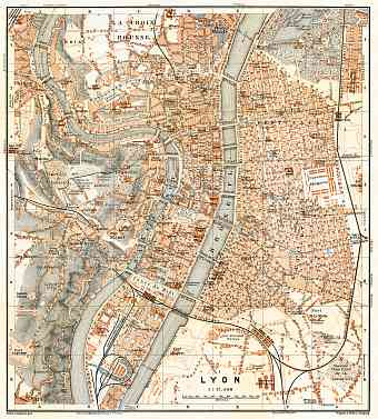 Lyon city map, 1900