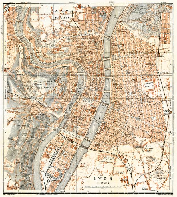 Lyon city map, 1900. Use the zooming tool to explore in higher level of detail. Obtain as a quality print or high resolution image